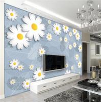 Tamaño personalizado 3d papel tapiz fotográfico salón mural venas grises pequeño arte del crisantemo imagen 3d sofá TV telón de fondo papel tapiz no tejido etiqueta