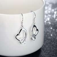 Brand new sterling silver plated Phase crooked stone heart серьги DFMSE150, женские 925 серебряные мотаться люстра серьги 10 пар много