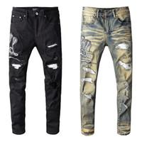 Famoso diseñador para hombre Skinny Slim Elastic Denim Pant Fit Biker Jean Fashion Zipper Ripped Pants Casual Pantalones de alta calidad