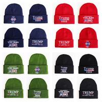 Trump 2020 Präsident Strickmützen Halten Amerika Große Stickerei Winter Warme Ski Häkeln Hüte Outdoor Strickmütze Kappe TTA1638