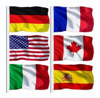 Новый национальный флаг 100% полиэстер 3х5 FTS 90 * 150см США Канада Германия Великобритания Франция Испания Италия Баннер Flag Для украшения