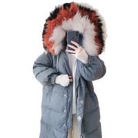 Plus la taille couleur collier de raton laveur blanc duvet de canard manteau femme neige porter des vêtements de dessus hiver femme veste manteau femmes vêtements B224