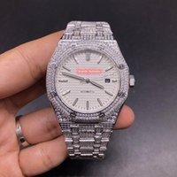 Men's Iced Diamond Watch White Face Silver Stainless Steel Case Popular Automatic Mechanical Hip-hop Watches