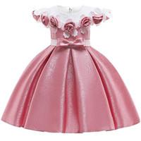 Menina bebê 3d flor seda princesa vestido para festa de casamento elegante crianças vestidos para criança menina crianças moda roupas j190520
