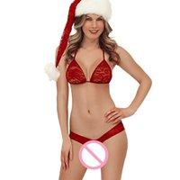 Mulheres de Natal Vermelho lingerie Cosplay Tentação Quente Sexy Lingerie Erótica Condole Belt Underwear Natal Traje Plus Size 1007