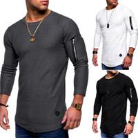 Neue Herren Designer T-shirts Frühling und Herbst Langärmeliger Reißverschluss Gebogene lange Linie T-shirt Tops Kleidung Top Qualität