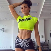 Lettera Stampa Neon Crop Top Abiti estivi sexy per le donne Active Wear Womens Crop Tees Trendy Tshirt Top