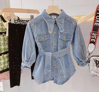 Mädchen Jeans Kleider Kinder Revers langen Hülse beiläufige Denim-Kleid Kinder Einreiher Gürtel Cowboy Kleid Art und Weise fallen Mädchenkleidung F10291