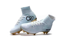 Original Blanc Or Ronaldo Crampons De Mercurial Superfly V FG CR7 Qualité En Plein Air Chaussures De Football De Haute Cheville Football Bottes
