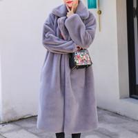 높은 품질 가짜 모피 롱 코트 여성 겨울이 두꺼워 따뜻한 옷 깃 솔리드 코트 여성 외투 2019 패션 새로운 겉옷