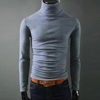 Helisopus 2018 남성 캐주얼 터틀넥 스웨터 남자의 편물 슬림핏 브랜드 스웨터 풀오버 Masculino