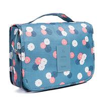 Diseñador-Neceser multifunción bolsa de cosméticos de maquillaje portátil de la bolsa de viaje resistente al agua que cuelga del organizador del bolso de las mujeres de las muchachas azul de las flores