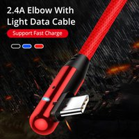 Çift Dirsek 2.4A LED Işık Tipi C USB Kablosu S10 Huawei 90 Derece Mikro USB Hızlı Şarj Veri Kablosu Android Telefon USB C Şarj Kablosu
