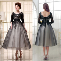 SD036 2020 A Line Mother of the Bride Dresses Half Sleeves Party Dress Tea Length Applique Lace Vintage Evening Gowns