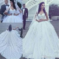 Nuevo estilo árabe de lujo una línea de vestidos de novia de encaje apliques con cuentas capilla tren vestido de fiesta princesa encaje vestidos de novias h055