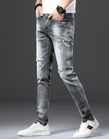 Hot Sale Spring Mens Hole Washed Jeans Grey Ripped Slim Male...