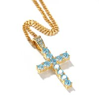 Hip- hop Classic Blue Cross Pendant Glass Gold Silver Iced Ou...