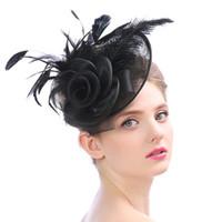 Cappello da sposa delle donne affascinante con piuma occidentale britannico britannico di struzzo per forcella banchetto Prom Party Birdcage copricapo pantaloni a vita bassa cappelli da sposa a buon mercato