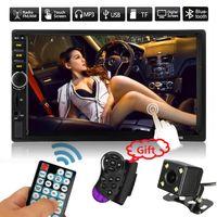 Autoradio 2 الدين راديو السيارة 7 '' hd بالسعة lcd شاشة تعمل باللمس سيارة مشغل dvd بلوتوث سيارة الصوت + 4 led كاميرا الرؤية الخلفية + عجلة القيادة