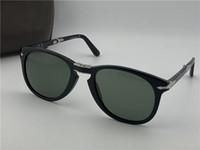 Modedesigner-Sonnenbrille 714 klassischer Retro-Pilot Klapprahmen Glaslinse UV400 Schutzbrille mit Ledertasche