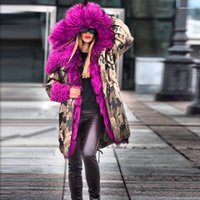 Dickes Fell Design Long Tarnung Warme Daunenjacke Winter New Frauen Designer Down-Parks