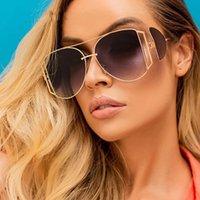 2020 Novos Moda liga oco óculos de sol para as mulheres Marca Desgin Windproof Vintage Sun Glasses Homens Gradiente Goggle Shades UV400