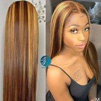 Mody Blond Ombre Color Невидимый полный кружевной парик сбросившаяся изложитель для волос 150% кружевной фронт человеческих волос парики бразильцы для черных женщин REMY