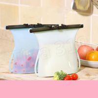 Início 1000ml dobrável Silicone Conservação de alimentos sacola reutilizável Sealing recipiente de armazenamento de alimentos frescos Bolsas Legumes ferramentas Alimentos Savers T2I5153