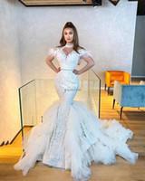 Dubai Mermaid Brautkleider 2020 High Neck Sweep Zug Illusion Mieder Spitze Feder Tiered Kapelle Garten Brautkleider Vestidos de Novia