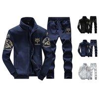 Trajes basculador para hombres Impreso conjuntos causales remiendo de la chaqueta de los hombres de chándal 2pcs primavera Sporting camiseta de 2020 hombres los hoodies