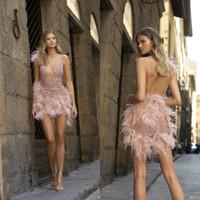 Abiti da ballo Berta Sexy Sexy Seeve Attraverso Paillettes perline Piuma Spaghetti Mini abiti da sera rosa su misura Abiti da partito formale corto