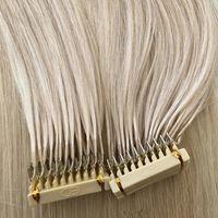 2021 Новейшие 0,5 г / с 150 г 300strands Европейские 6D наращивание волос 16 18 20 22 24 дюйма бразильских европейских человеческих волос наращивания волос зола блондинка
