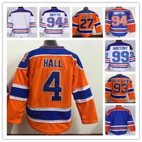 Homens Edmonton Oilers Jerseys Iec Hockey 27 Milan Lucic 11 Messier 14 Eberle 4 Salão 93 Nugent-Hopkins Tudo costurado Hot venda Branco Laranja Azul