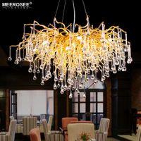 New Modern Luxurious candelabro de cristal Luz G9 cor do ouro pingente luz Haning Lâmpada para Living room Foyer Hotel Fast Shipping