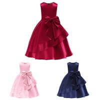 Solid Color Sleeveless Girls Prom Dresses Big Bow Knot Baby ...