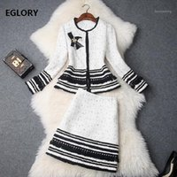 Top Quality Designer Clothing Sets Women Beading Wool Jacket...