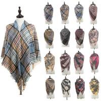 Модные женские шарфы в шотландскую клетку Lady Grid Кисточка негабаритного платка Тартан-квадрат Шарф Зимняя клетчатая шейный платок Одеяла TTA1751