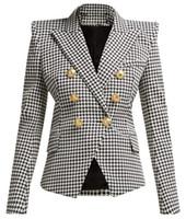 새로운 최고 품질의 원래 디자인 여성의 고전적인 houndstooth 더블 브레스트 블레이저 슬림 자켓 금속 버클 블레이저 정장 칼라 outwear