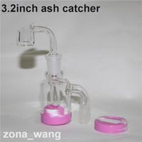 Mini Glass Ash Catcher com prego de quartzo banger 14mmm-14mm 18mm-18mm para vidro bong oil rig ashcatchers com base de silicone