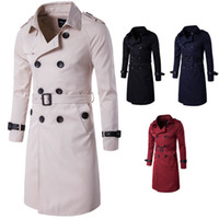 Slim Mens Long Trench Coat With Adjustable Waist Long Sleeve...