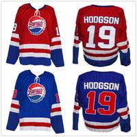 버펄로 바이슨 스 코디 호지 슨 # 19 빨강 파랑 레트로 아이스 하키 저지 남성의 스티치 사용자 설정 숫자 이름 유니폼