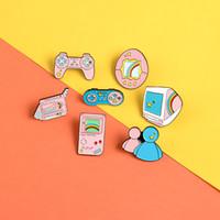 macchina da gioco perno dello smalto sveglio di colore rosa del fumetto gamepad proiettore distintivo spilla Giacche shirt borsa risvolto regalo gioielli pin per amante del gioco