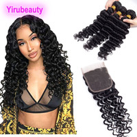 Brazilian Virgin Hair 100% Human Hair Deep Wave 3 Bundles Wi...