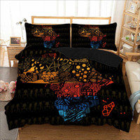 African Map Bedding Set Polyester Geometric Duvet Cover Pill...