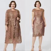 Yeni Lüks Artı Boyutu Kahverengi Anne kapalı gelin elbiseler Jewel Boyun Uzun Kollu Dantel Ceket Ile Çay Uzunluğu Özel Düğün Konuk Anneler Elbise