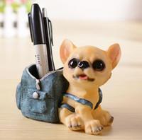 Mini Köpek Kovboy Çanta Kalem Tutucu Mutlu Köpek Reçine Craft Kalem Tutucu Doğum Günü Hediyesi