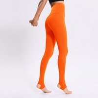 Trajes de yoga ColorValue Pantalones de estribo de color naranja Longitud completa Leggings de deporte Estiramiento alto Cintura Ejercicio Pantalones de baile Sports Wear