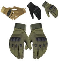Sport Outdoor Tactical Army Softair Shooting Bicicletta Combat Fingerless Paintball Duro Carbon Knuckle Full Finger Guanti da ciclismo