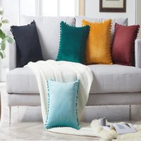 Tassel Venonat Cushion Pillow Pure Color Velvet Soft Cushion...