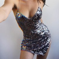 Sexy Split Femmes Party Dress Mode Silver Sequins Night Club Dress Top Qualité Sexy Robe Dos Nu